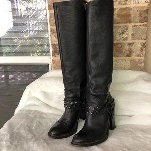 Vera Wang black stud details long boots